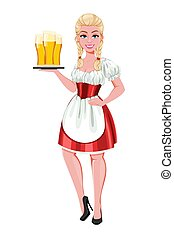 German girl in traditional costume on Oktoberfest. Beautiful...