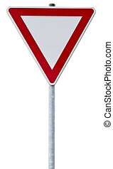 german give way sign with clipping path