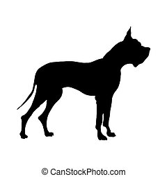 German Great Dane Dog Silhouette. Smooth Vector...