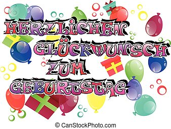 German Happy Birthday Card