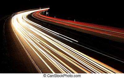 German highway by dark night