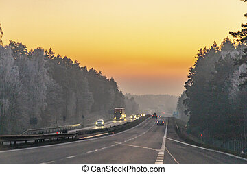 German highway in rsunset - German highway in romantic ...