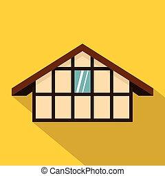 German house icon, flat style