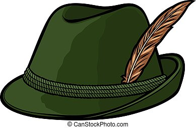 german hunting hat with feather and rope vector illustration