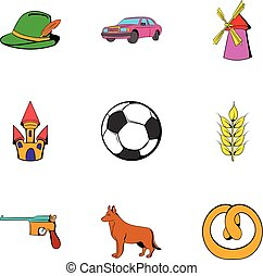 German icons set, cartoon style