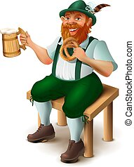 German in traditional costume with red beard drinks beer