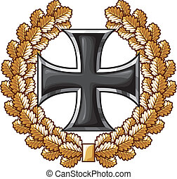 german iron cross and oak wreath (iron cross emblem, symbol)