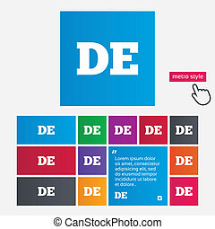 German language sign icon. DE Deutschland translation symbol. Metro style buttons. Modern interface website buttons with hand cursor pointer. Vector