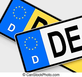 German Licence Plates - Front and rear German vehicle...