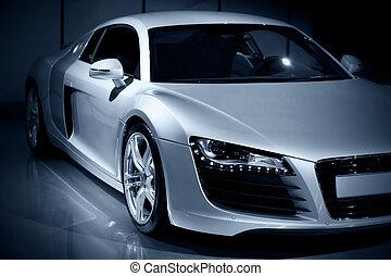 luxury sport car - german luxury sport car, blue toned...