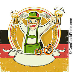 German man and beers. Vintage oktoberfest symbol on old paper background