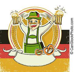 German man and beers.Vintage oktoberfest symbol on old paper...