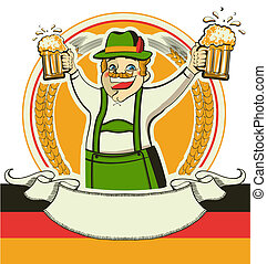 German man and glasses of beer.Vector oktoberfest estival symbol isolated on white for design