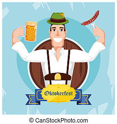 german man with beer and sausage oktoberfest celebration
