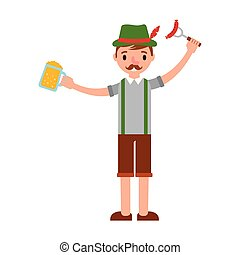 german man with beer and sausage