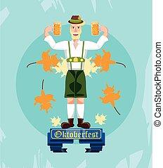 german man with beer oktoberfest celebration