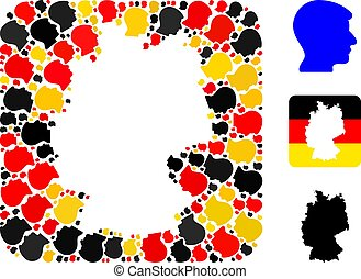 German Map Hole Collage of Man Head Icons in German Flag Colors