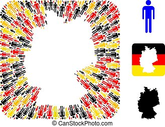 German Map Hole Mosaic of Man Items in German Flag Colors
