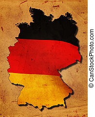 German map with flag over old paper