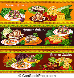 German meat dishes, salads and desserts - German cuisine...