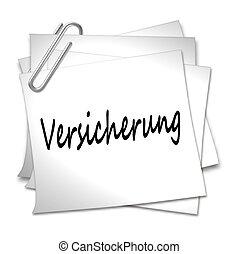 German Memo with Paper Clip - Versicherung