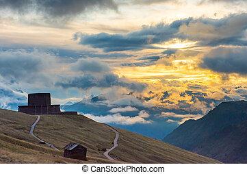 German military cemetery, Passo Pordoi, Dolomites, Italy - ...