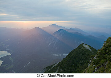 german mountain lake at sunrise