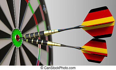 German national achievement. Flags of Germany on darts hitting bullseye. Conceptual 3D rendering