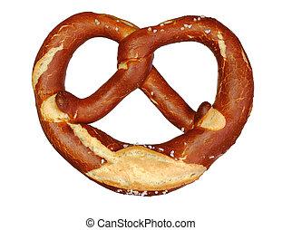 german oktoberfest pretzel on white background
