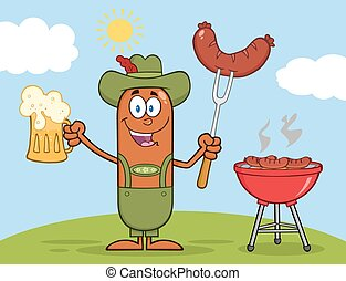 German Oktoberfest Sausage Cartoon Character Holding A Beer...