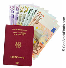 German pass with euro notes