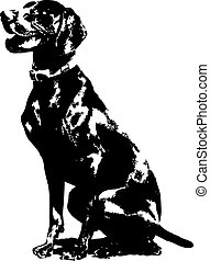 A silhouette of a sitting German short haired Pointer.