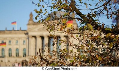 German Politics: The Reichstag Building Behind A Tree in...