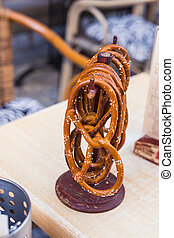 German pretzels with salt close-up on the table.