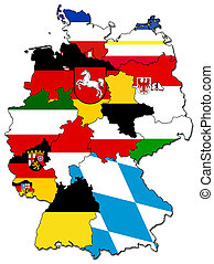 german provinces(states) - old administration map of german...