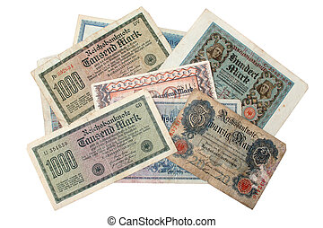 Digital photo of german reichsmark from the years 1908 - 1923.