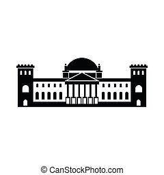 German Reichstag building icon, flat style - German...