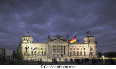 German Reichstag during twilight - HDR-Timelapse of German...