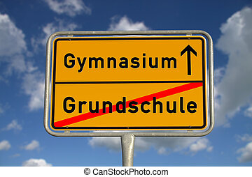 German road sign elementary School and secondary school with...
