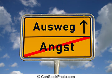 German road sign fear and way out with blue sky and white ...