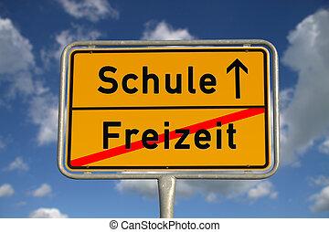 German road sign Leisure School