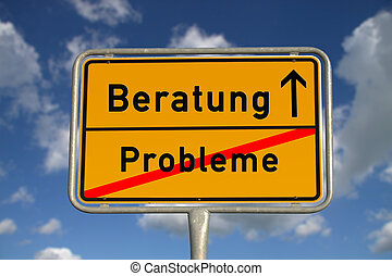 German road sign problems and consultation with blue sky and...