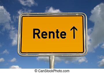 German road sign Retirement