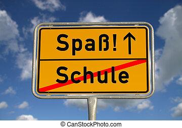 German road sign school and fun