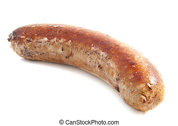 German sausage - Hot german bratwurst isolated on a white...