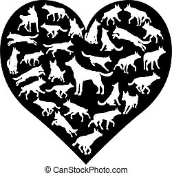 A German Shepard Alsatian or similar dog heart silhouette concept for someone who loves their pet