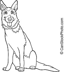 Black and White Cartoon Illustration of Funny German Shepherd Purebred Dog for Coloring Book