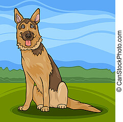 german shepherd dog cartoon illustration