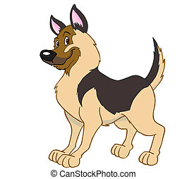 German Shepherd Dog - hand drawn cartoon image of a proud...