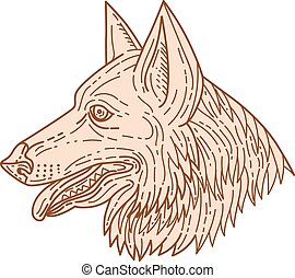 German Shepherd Dog Head Mono Line